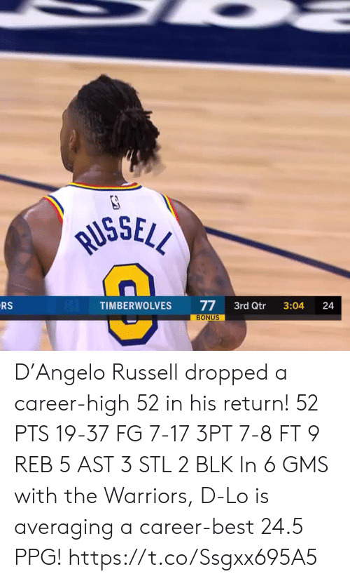 the warriors: RUSSELL  RS  77  BONUS  TIMBERWOLVES  3rd Qtr  3:04  24 D'Angelo Russell dropped a career-high 52 in his return!   52 PTS 19-37 FG 7-17 3PT 7-8 FT 9 REB 5 AST 3 STL 2 BLK   In 6 GMS with the Warriors, D-Lo is averaging a career-best 24.5 PPG!    https://t.co/Ssgxx695A5