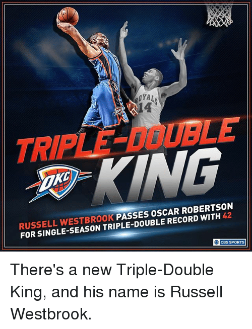 oscar robertson: RUSSELL WESTBROOK  PASSES OSCAR ROBERTSON  RECORD FOR SINGLE CBS SPORTS There's a new Triple-Double King, and his name is Russell Westbrook.
