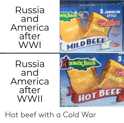 America, Beef, and Russia: Russia  and  America  after  WWI  CaldeB  3 JAMAICAN  STYLE  weR TSTES  Panstres  ISLES  TowER  MILD BEE  3.  Russia  and  America  after  WWII  TWD ISTES  ISLES  TosER  HOT BEEF Hot beef with a Cold War