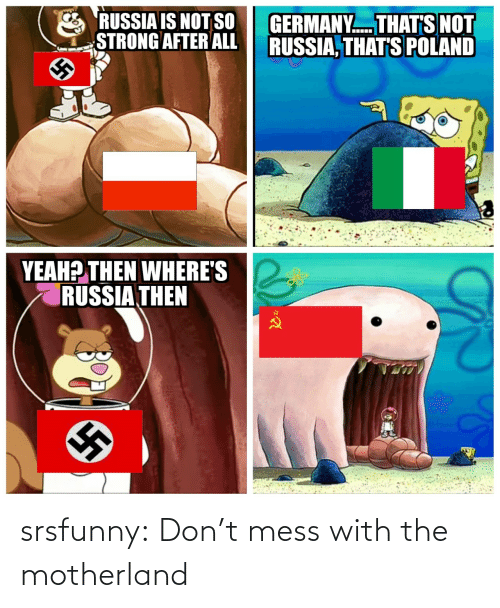 Wheres: RUSSIA IS NOT SO  STRONG AFTER ALL  GERMANY. THAT'S NOT  RUSSIA, THAT'S POLAND  YEAH? THEN WHERE'S  RUSSIA THEN srsfunny:  Don't mess with the motherland