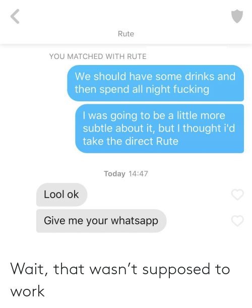 Have Some: Rute  YOU MATCHED WITH RUTE  We should have some drinks and  then spend all night fucking  I was going to be a little more  subtle about it, but I thought i'd  take the direct Rute  Today 14:47  Lool ok  Give me your whatsapp Wait, that wasn't supposed to work