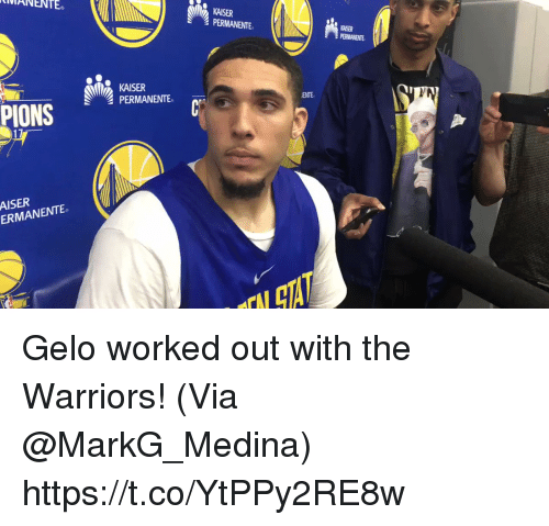 Memes, Kaiser, and Warriors: RWANENTE  KAISER  PERMANENTE  KAISER  PERMANENTE  ENTE  17  AISER  ERMANENTE Gelo worked out with the Warriors!   (Via @MarkG_Medina) https://t.co/YtPPy2RE8w