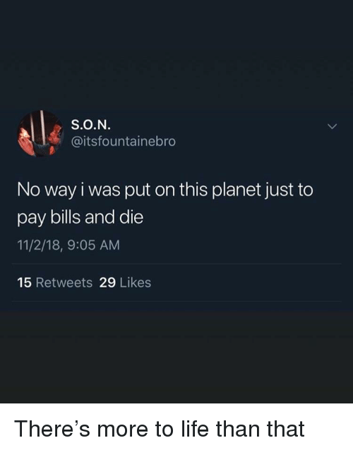 Life, Bills, and Planet: S.O.N  @itsfountainebro  No way i was put on this planet just to  pay bills and die  11/2/18, 9:05 AM  15 Retweets 29 Likes There's more to life than that