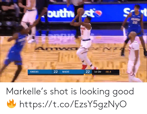 looking good: S  outh st  Z0  22  KNICKS  MAGIC  Ist Qtr  :00.4  22 Markelle's shot is looking good🔥 https://t.co/EzsY5gzNyO