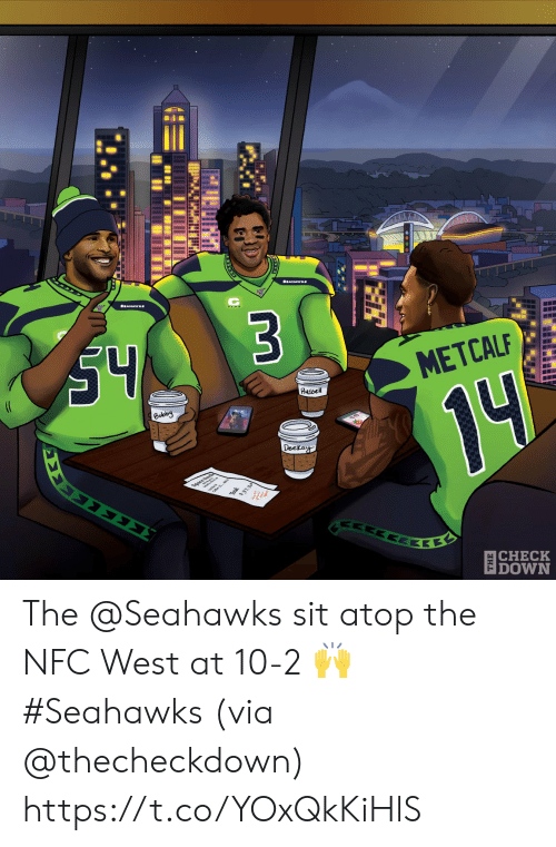 Memes, Seahawks, and 10 2: S4  $3  (C  METCALF  Russel  Bobby  14  Deckay  ΣΣ  37.30  ΕΚΕ  |CHECK  DOWN The @Seahawks sit atop the NFC West at 10-2 🙌 #Seahawks  (via @thecheckdown) https://t.co/YOxQkKiHlS