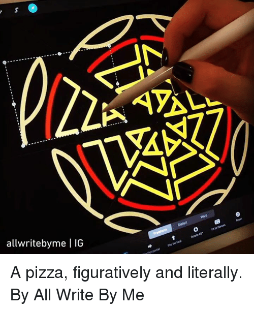 figuratively: SA  allwritebyme | IG  0 9 A pizza, figuratively and literally.  By All Write By Me