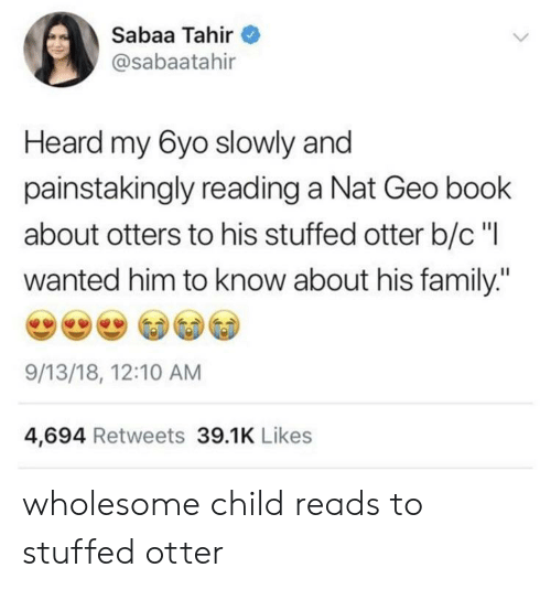 "otter: Sabaa Tahir  @sabaatahir  Heard my 6yo slowly and  painstakingly reading a Nat Geo book  about otters to his stuffed otter b/c""l  wanted him to know about his family:""  9/13/18, 12:10 AM  4,694 Retweets 39.1K Likes wholesome child reads to stuffed otter"