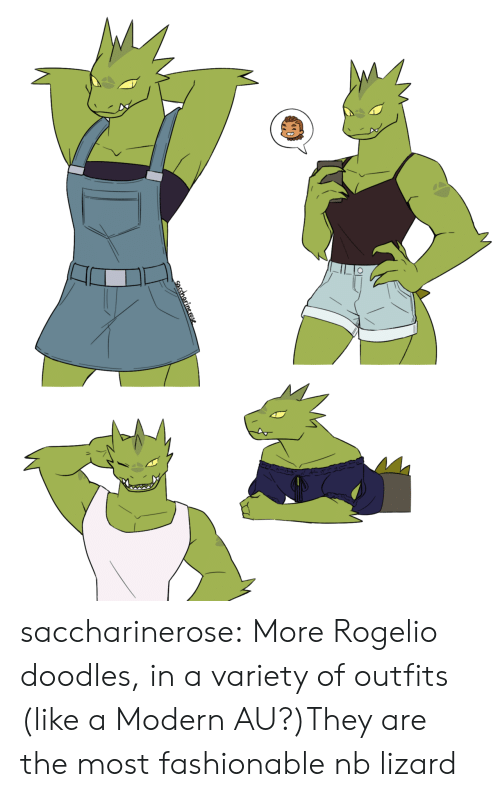 lizard: saccharinerose:  More Rogelio doodles, in a variety of outfits (like a Modern AU?)They are the most fashionable nb lizard