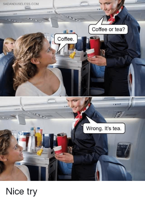 Memes, Coffee, and Nice: SADANDUSELESS.COM  Coffee or tea?  Coffee  Wrong. It's tea Nice try