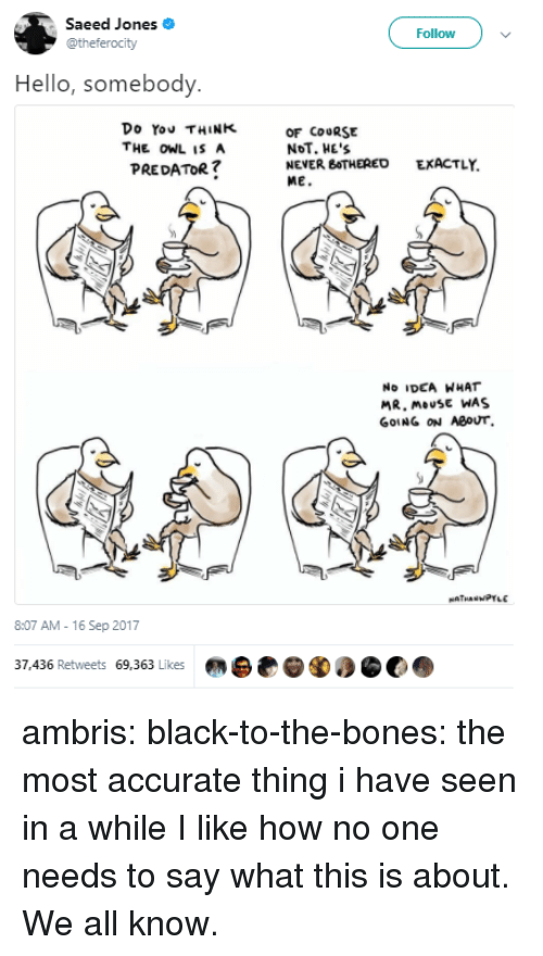Bones, Hello, and Tumblr: Saeed Jones  @theferocity  Follow  Hello, somebody  Do You THINK  THE OWLISA  PREDATOR  OF COURSE  NoT. HE'S  NEVER BOTHERED  ME.  EXACTLY.  No IDEA WHAT  MR. mousE WAS  GOING ON ABOUT  8:07 AM-16 Sep 2017  37,436 Retweets 69,363 Likes ambris:  black-to-the-bones: the most accurate thing i have seen in a while I like how no one needs to say what this is about. We all know.
