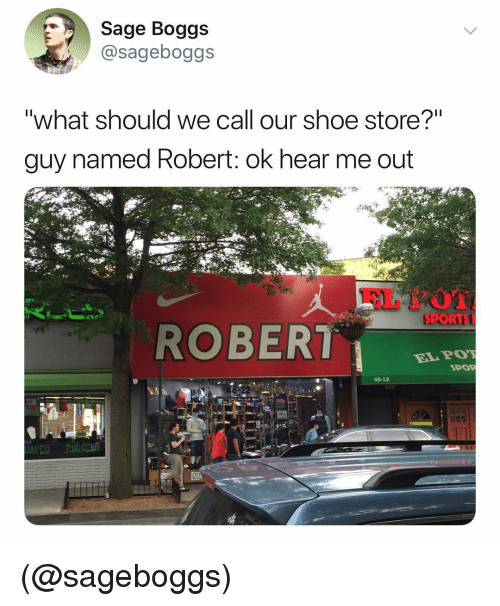 """Sports, Sage, and Dank Memes: Sage Boggs  @sageboggs  """"what should we call our shoe store?""""  guy named Robert: ok hear me out  SPORTS  ROBER  ELPOT  SPOR  46-12  20 (@sageboggs)"""
