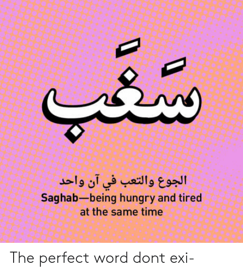 Hungry, Time, and Word: Saghab-being hungry and tired  at the same time The perfect word dont exi-