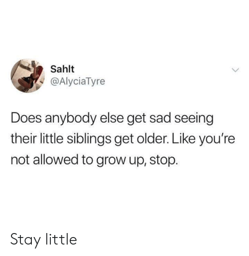 Dank, Sad, and 🤖: Sahlt  @AlyciaTyre  Does anybody else get sad seeing  their little siblings get older. Like you're  not allowed to grow up, stop. Stay little
