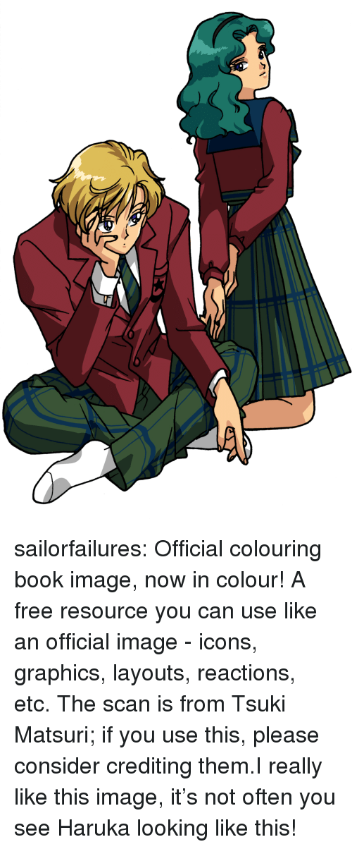 Target, Tumblr, and Blog: sailorfailures:  Official colouring book image, now in colour! A free resource you can use like an official image - icons, graphics, layouts, reactions,  etc. The scan is from Tsuki Matsuri; if you use this, please consider crediting them.I really like this image, it's not often you see Haruka looking like this!
