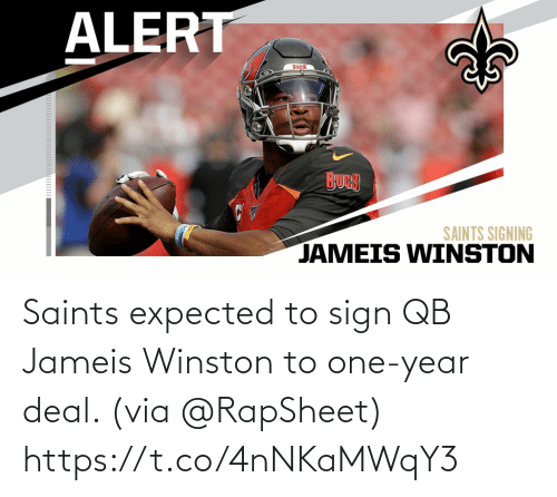 New Orleans Saints: Saints expected to sign QB Jameis Winston to one-year deal. (via @RapSheet) https://t.co/4nNKaMWqY3