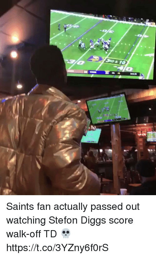 Football, Nfl, and New Orleans Saints: Saints fan actually passed out watching Stefon Diggs score walk-off TD 💀  https://t.co/3YZny6f0rS
