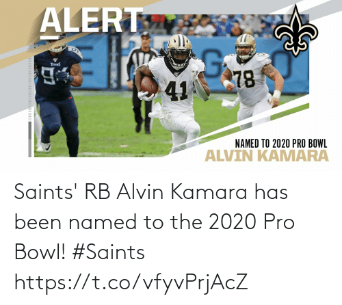 New Orleans Saints: Saints' RB Alvin Kamara has been named to the 2020 Pro Bowl!  #Saints https://t.co/vfyvPrjAcZ