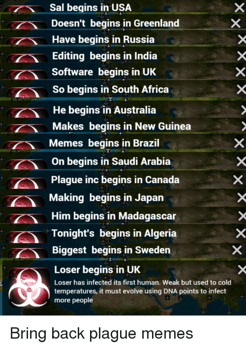 Africa, Memes, and Australia: Sal begins in USA  Doesn't begins in Greenland  Have begins in Russia  Editing begins in India  Software begins in UK  So begins in South Africa  He begins in Australia  Makes begins in New Guinea  Memes begins in Brazil  On begins in Saudi Arabia  Plague inc begins in Canada  Making begins in Japan  Him begins in Madagascar  Tonight's begins in Algeria  Biggest begins in Sweden  Loser begins in UK  Loser has infected its first human. Weak but used to cold  temperatures, it must evolve using DNA points to infect  more people Bring back plague memes