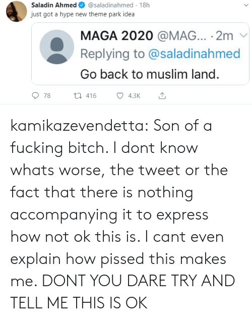 Muslim: Saladin Ahmed  @saladinahmed 18h  just got a hype new theme park idea  MAGA 2020 @MAG... 2m  Replying to @saladinahmed  Go back to muslim land.  78  t416  4.3K kamikazevendetta:  Son of a fucking bitch. I dont know whats worse, the tweet or the fact that there is nothing accompanying it to express how not ok this is. I cant even explain how pissed this makes me. DONT YOU DARE TRY AND TELL ME THIS IS OK