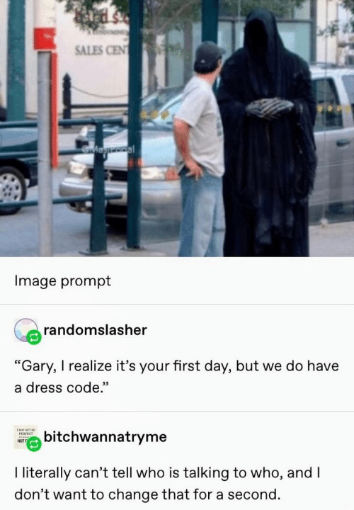 "gary: SALES CEN  Magooal  Image prompt  randomslasher  ""Gary, I realize it's your first day, but we do have  a dress code.""  ENAY NOT BE  bitchwannatryme  РЕRFECT  NOT  I literally can't tell who is talking to who, and I  don't want to change that for a second."