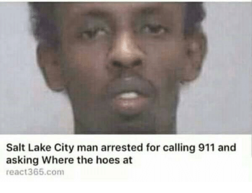 where the hoes at: Salt Lake City man arrested for calling 911 and  asking Where the hoes at  react365.com