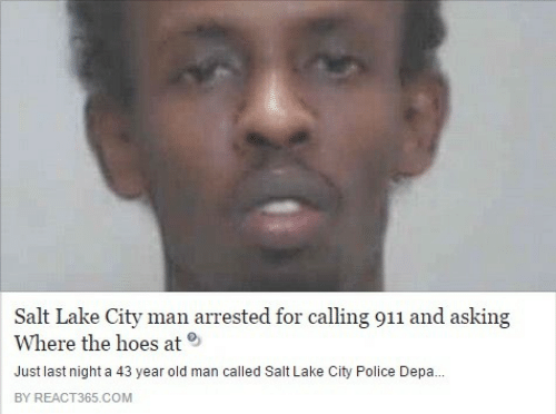 where the hoes at: Salt Lake City man arrested for calling 911 and asking  Where the hoes at  Just last night a 43 year old man called Salt Lake City Police Depa...  BY REACT365.COM