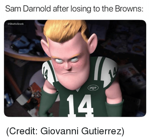 Nfl, Browns, and Sam: Sam Darnold after losing to the Browns:  @GhettoGronk (Credit: Giovanni Gutierrez)