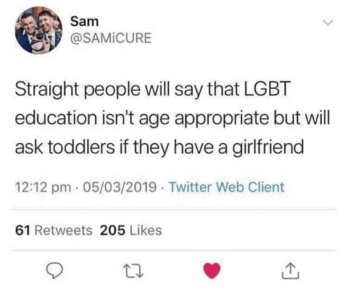 Dank, Lgbt, and Twitter: Sam  @SAMİCURE  Straight people will say that LGBT  education isn't age appropriate but will  ask toddlers if they have a girlfriend  12:12 pm 05/03/2019 Twitter Web Client  61 Retweets 205 Likes