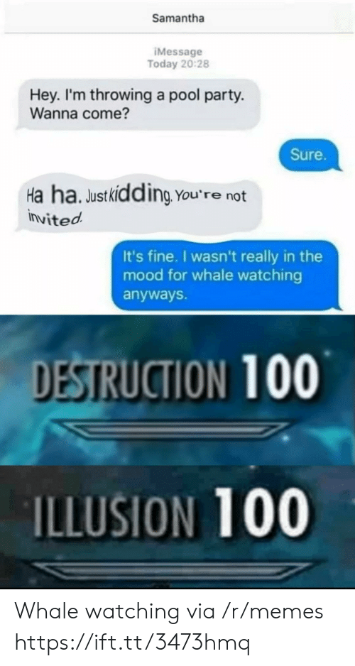 Memes, Mood, and Party: Samantha  IMessage  Today 20:28  Hey. I'm throwing a pool party.  Wanna come?  Sure.  Ha ha. Justkidding You're not  invited  It's fine. I wasn't really in the  mood for whale watching  anyways.  DESTRUCTION 100  ILLUSION 100 Whale watching via /r/memes https://ift.tt/3473hmq