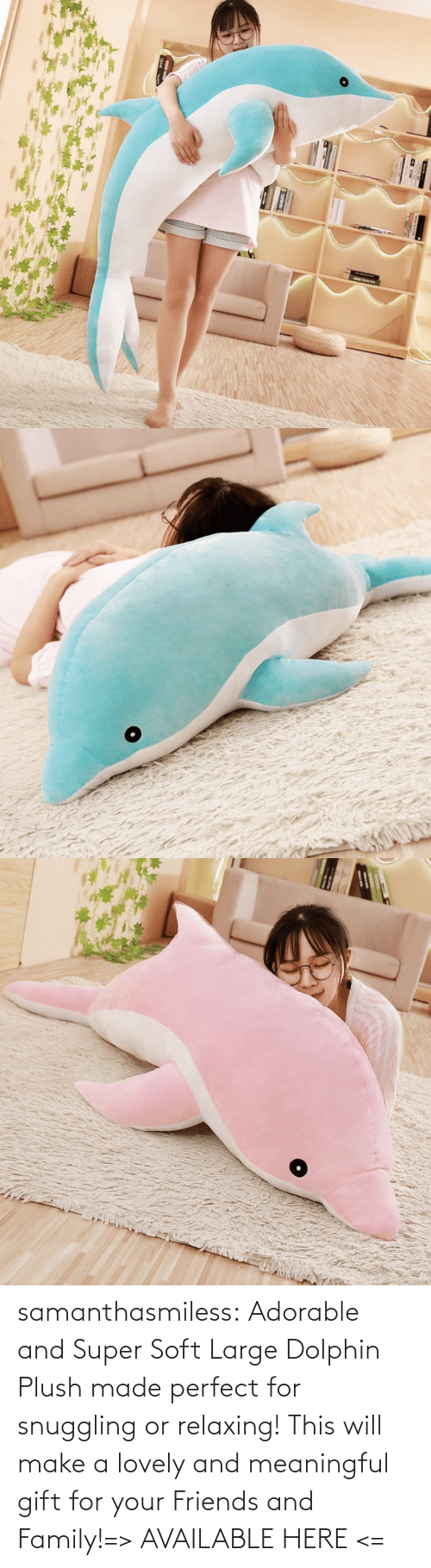 super: samanthasmiless:  Adorable and Super Soft Large Dolphin Plush made perfect for snuggling or relaxing! This will make a lovely and meaningful gift for your Friends and Family!=> AVAILABLE HERE <=