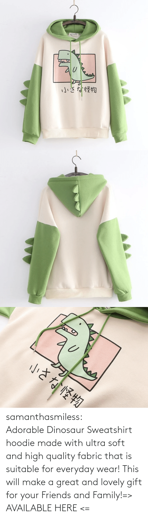 Adorable: samanthasmiless:  Adorable Dinosaur Sweatshirt hoodie made with ultra soft and high quality fabric that is suitable for everyday wear! This will make a great and lovely gift for your Friends and Family!=> AVAILABLE HERE <=