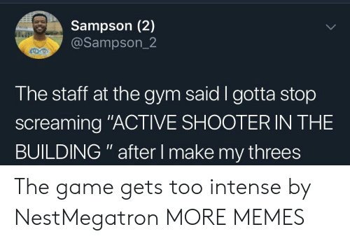 "Threes: Sampson (2)  @Sampson_2  The staff at the gym said I gotta stop  screaming ""ACTIVE SHOOTER IN THE  BUILDING "" after I make my threes The game gets too intense by NestMegatron MORE MEMES"