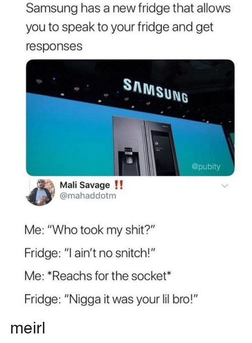 """Savage, Shit, and Snitch: Samsung has a new fridge that allows  you to speak to your fridge and get  responses  SAMSUNG  @pubity  Mali Savage!!  @mahaddotm  Me: """"Who took my shit?""""  Fridge: """"ain't no snitch!""""  Me: Reachs for the socket*  Fridge: """"Nigga it was your lil bro!"""" meirl"""