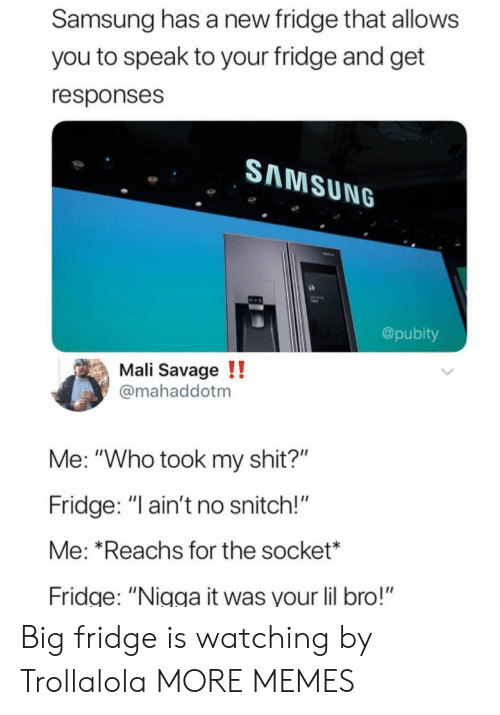"""Dank, Memes, and Savage: Samsung has a new fridge that allows  you to speak to your fridge and get  responses  SAMSUNG  @pubity  Mali Savage !!  mahaddotm  Me: """"Who took my shit?""""  Fridge: """" ain't no snitch!""""  Me: *Reachs for the socket*  ridge: """"Nigga it was your lil bro!"""" Big fridge is watching by Trollalola MORE MEMES"""