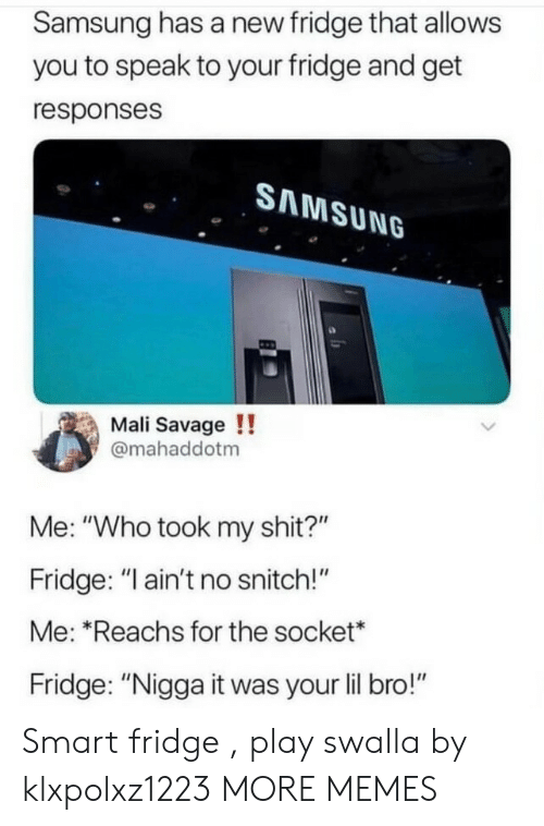 "Dank, Memes, and Savage: Samsung has a new fridge that allows  you to speak to your fridge and get  responses  SAMSUNG  Mali Savage !!  @mahaddotm  Me: ""Who took my shit?""  Fridge: ""I ain't no snitch!""  Me: ""Reachs for the socket*  Fridge: ""Nigga it was your lil bro!"" Smart fridge , play swalla by klxpolxz1223 MORE MEMES"