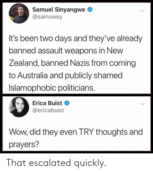 shamed: Samuel Sinyangwe  @samswey  It's been two days and they've already  banned assault weapons in New  Zea  land, banned Nazis from coming  to Australia and publicly shamed  Islamophobic politicians.  Erica Buist  @ericabuist  Wow, did they even TRY thoughts and  prayers? That escalated quickly.