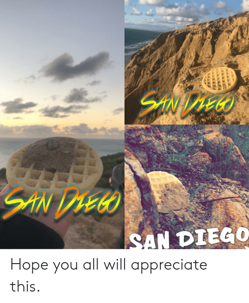 Appreciate, San Diego, and Hope: SAN DIEGO Hope you all will appreciate this.