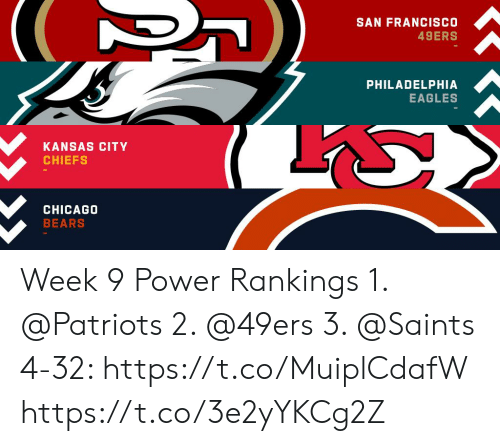 San Francisco 49ers: SAN FRANCISCO  49ERS  PHILADELPHIA  EAGLES  KANSAS CITY  CHIEFS  CHICAGO  BEARS Week 9 Power Rankings 1. @Patriots  2. @49ers  3. @Saints  4-32: https://t.co/MuiplCdafW https://t.co/3e2yYKCg2Z