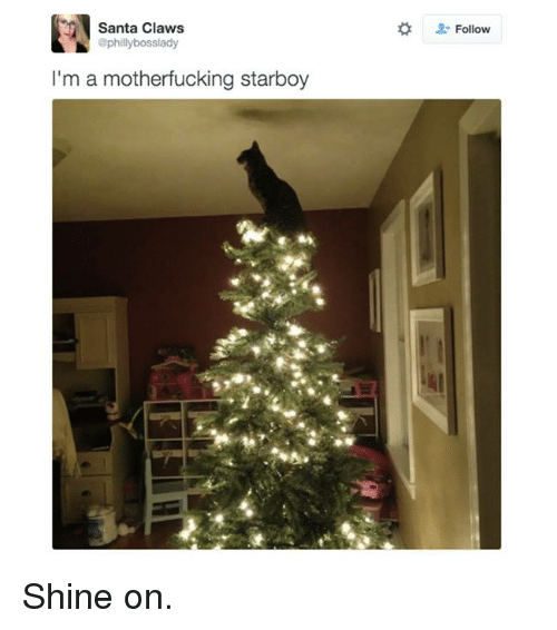 Phillied: Santa Claws  @philly bosslady  I'm a motherfucking starboy  Follow Shine on.