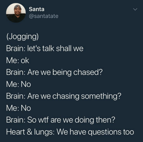 Shall We: Santa  @santatate  (Jogging)  Brain: let's talk shall we  Me: ok  Brain: Are we being chased?  Me: No  Brain: Are we chasing something?  Me: No  Brain: So wtf are we doing then?  Heart & lungs: We have questions too