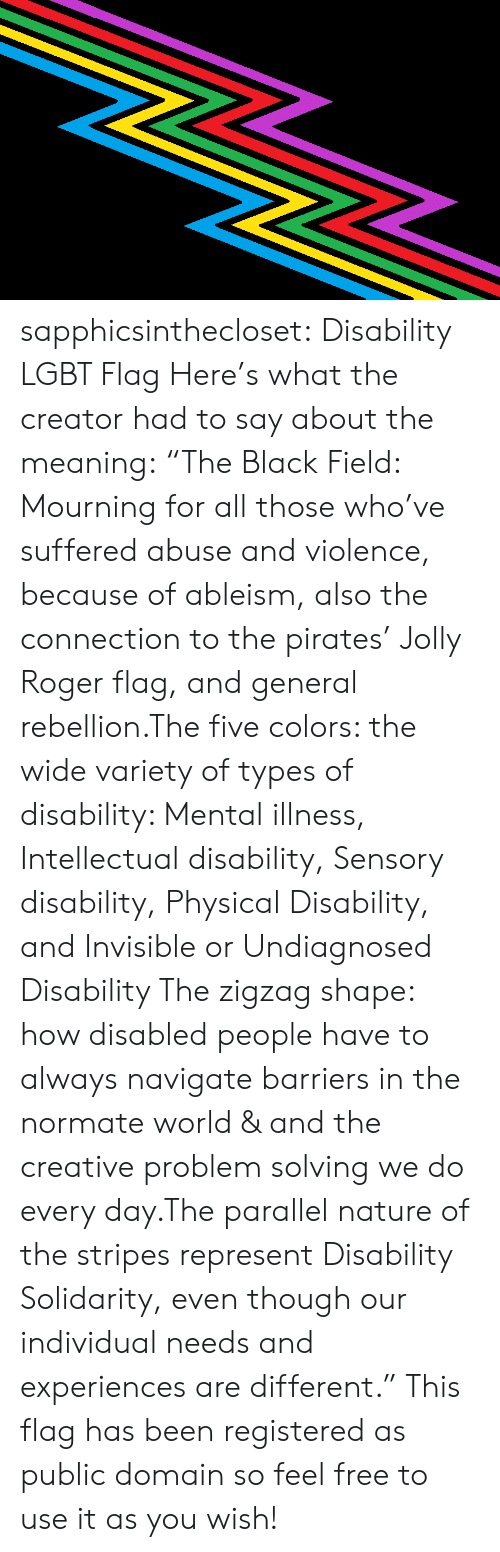 "Lgbt, Roger, and Target: sapphicsinthecloset:  Disability LGBT Flag Here's what the creator had to say about the meaning:   ""The Black Field: Mourning for all those who've suffered abuse and violence, because of ableism, also the connection to the pirates' Jolly Roger flag, and general rebellion.The five colors: the wide variety of types of disability: Mental illness, Intellectual disability, Sensory disability, Physical Disability, and Invisible or Undiagnosed Disability The zigzag shape: how disabled people have to always navigate barriers in the normate world & and the creative problem solving we do every day.The parallel nature of the stripes represent Disability Solidarity, even though our individual needs and experiences are different."" This flag has been registered as public domain so feel free to use it as you wish!"