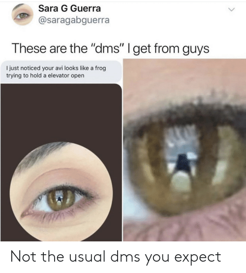 """Frog, Open, and Sara: Sara G Guerra  @saragabguerra  These are the """"dms"""" I get from guys  I just noticed your avi looks like a frog  trying to hold a elevator open Not the usual dms you expect"""
