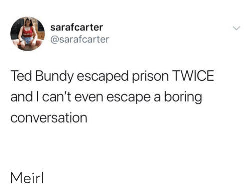 Ted, Prison, and MeIRL: sarafcarter  NAM  @sarafcarter  Ted Bundy escaped prison TWICE  and I can't even escape a boring  conversation Meirl