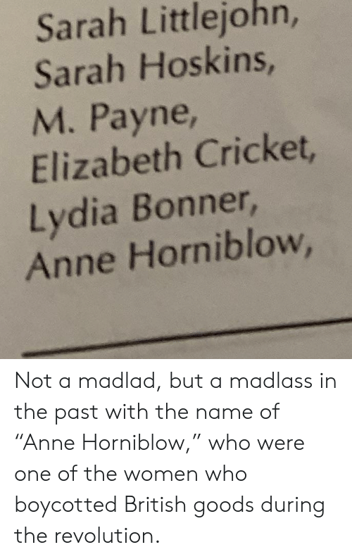 "Cricket, Revolution, and Women: Sarah Littlejohn,  Sarah Hoskins,  M. Payne,  Elizabeth Cricket,  Lydia Bonner,  Anne Horniblow, Not a madlad, but a madlass in the past with the name of ""Anne Horniblow,"" who were one of the women who boycotted British goods during the revolution."