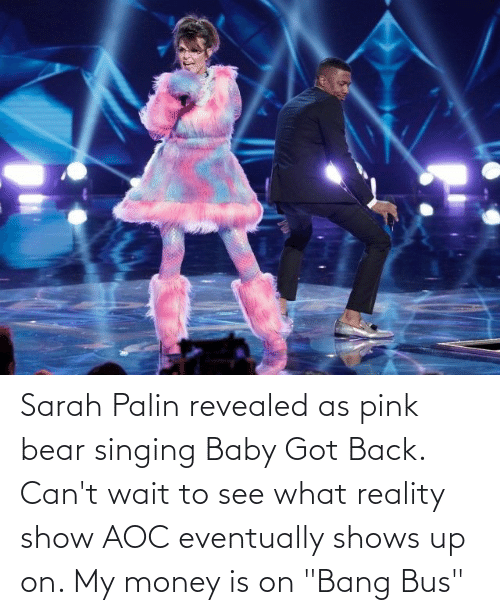 "Baby Got Back: Sarah Palin revealed as pink bear singing Baby Got Back. Can't wait to see what reality show AOC eventually shows up on. My money is on ""Bang Bus"""