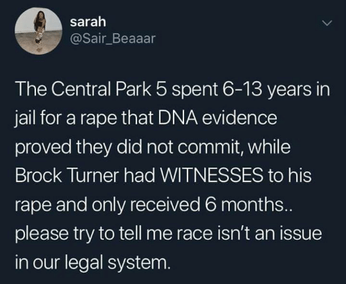 Turner: sarah  @Sair_Beaaar  The Central Park 5 spent 6-13 years in  jail for a rape that DNA evidence  proved they did not commit, while  Brock Turner had WITNESSES to his  rape and only received 6 months...  please try to tell me race isn't an issue  in our legal system.