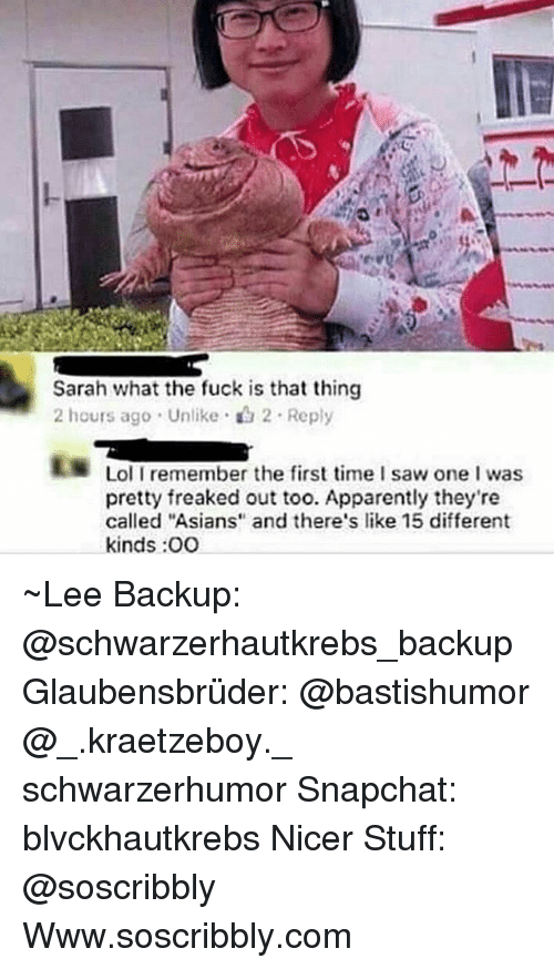"""Hourse: Sarah what the fuck is that thing  2 hours ago . Unlike . 2 . Reply  Lol I remember the first time I saw one I was  pretty freaked out too. Apparently they're  called """"Asians and there's like 15 different  kinds :OO ~Lee Backup: @schwarzerhautkrebs_backup Glaubensbrüder: @bastishumor @_.kraetzeboy._ schwarzerhumor Snapchat: blvckhautkrebs Nicer Stuff: @soscribbly Www.soscribbly.com"""