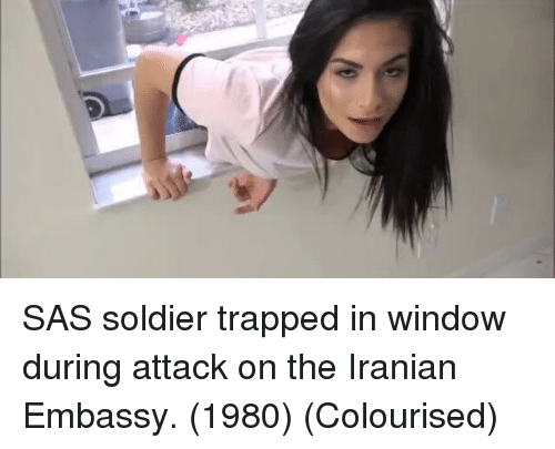 sas: SAS soldier trapped in window during attack on the Iranian Embassy. (1980) (Colourised)