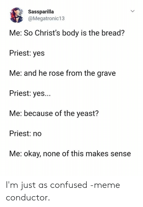 Confused Meme: Sassparilla  @Megatronic13  Me: So Christ's body is the bread?  Priest: yes  Me: and he rose from the grave  Priest: yes...  Me: because of the yeast?  Priest: no  Me: okay, none of this makes sense I'm just as confused -meme conductor.