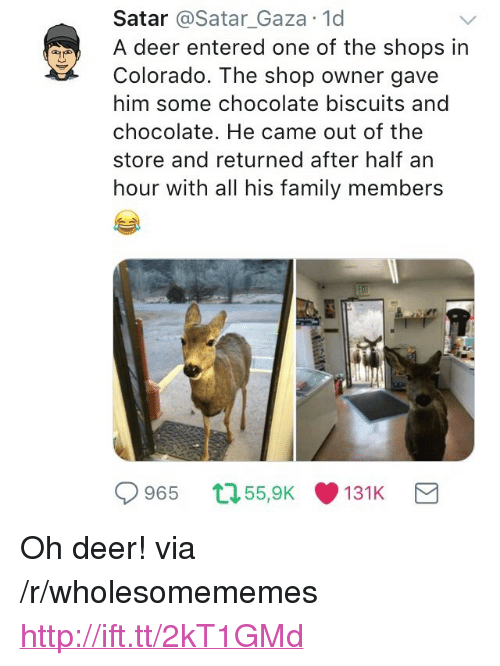 """Deer, Family, and Chocolate: Satar @Satar_Gaza 1d  A deer entered one of the shops in  Colorado. The shop owner gave  him some chocolate biscuits and  chocolate. He came out of the  store and returned after half arn  hour with all his family members  965 55,9K131K <p>Oh deer! via /r/wholesomememes <a href=""""http://ift.tt/2kT1GMd"""">http://ift.tt/2kT1GMd</a></p>"""